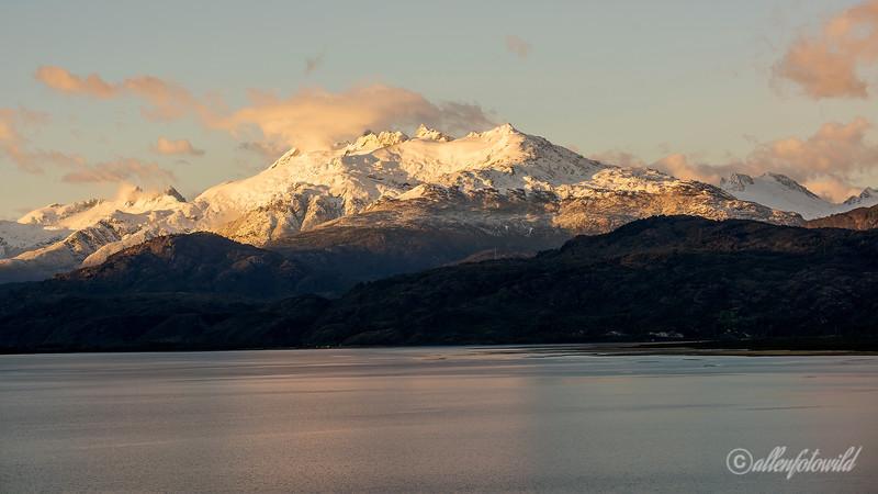 Snowy peaks at sunrise