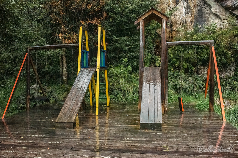 Playground in the rain