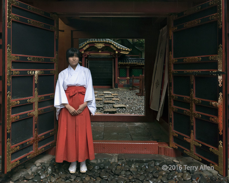 """Shinto priestess<br /> <br /> On a dark, rainy day this young Shinto priestess in her white top and red skirt add a touch of colour to the ornate temple doorways.  I liked the black, red and gold colour scheme, as well.<br /> <br /> Other photos from the ornate Japanese shrines and temples in Shizuoka can be seen here: <a href=""""http://goo.gl/lD4ZT5"""">http://goo.gl/lD4ZT5</a><br /> <br /> 05/02/15  <a href=""""http://www.allenfotowild.com"""">http://www.allenfotowild.com</a>"""