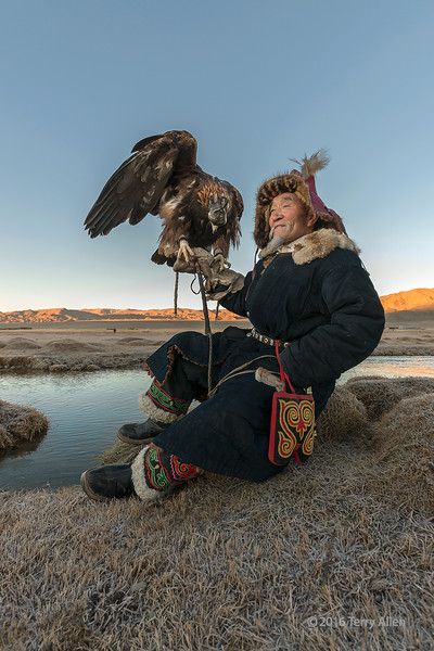 """Portrait of a Kazakh eagle hunter on a frosty sunrise (best larger)<br /> <br /> Taken near a herder's ger out on the Mongolian steppes near the border with Kazakhstan.<br /> <br /> For a cool shot of glowing eyes at nigiht, and other pics of the eagle hunters, seen here: <a href=""""http://goo.gl/aWdUw6"""">http://goo.gl/aWdUw6</a><br /> <br /> 20/03/15  <a href=""""http://www.allenfotwild.com"""">http://www.allenfotwild.com</a>"""