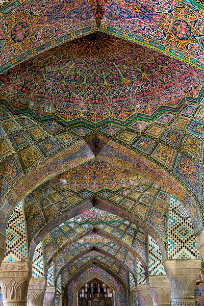 Receding arches (best larger)<br /> <br /> The famous Nasir al-milk Mosque in Shiraz (also called the Pink Mosque) is wonderfully ornate with its pink flowered tiles and superb receding pillars and arches.<br /> <br /> Used a tripod with aperture set to maximum DOF, using natural light.<br /> <br /> Was travelling most of yesterday to get home, but now have to stay put for a while -  should have a chance to catch up on posting pics from recent trips to far flung destinations.<br /> <br /> 13/03/15
