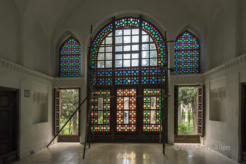 """Interior of Safavid Shotor Galou with strucurally braced stained glass window<br /> <br /> Kashan, Iran. The Shotor Galou building in the Bagd-e-Fin (Fin garden) dates to the Safavid Persian dynasty (1633-1666).<br /> <br /> Other photos of this beautiful garden can be seen here: <a href=""""http://goo.gl/TiftsB"""">http://goo.gl/TiftsB</a><br /> <br /> 12/05/15  <a href=""""http://www.allenfotowild.com"""">http://www.allenfotowild.com</a>"""