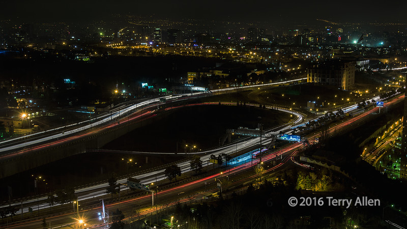 """Freeway light streams, Tehran, Iran (best larger)<br /> <br /> Taken from my hotel room through the window with my camera on a tripod for the long (10 sec) exposure.<br /> <br /> Other shots from Tehran can be seen here:<br /> <br /> 02/04/15  <a href=""""http://www.allenfotowild.com"""">http://www.allenfotowild.com</a>"""