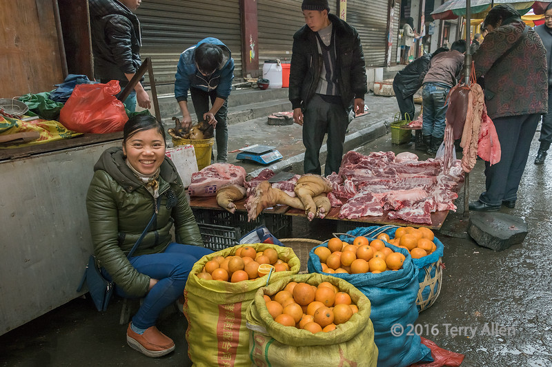 """Oranges, and an entire butchered pig (best larger)<br /> <br /> When I looked at my photos from Rongjiang Market in Guizhou Province, China, I realized that behind the smiling woman selling oranges, there was an entire butchered pig from the head in the bucket to the liver and lungs hanging on the pole, and everything in between.<br /> <br /> Other images of the market activities can be seen here; <a href=""""http://goo.gl/QdtBH7"""">http://goo.gl/QdtBH7</a><br /> <br /> 23/07/15  <a href=""""http://www.allenfotowild.com"""">http://www.allenfotowild.com</a>"""