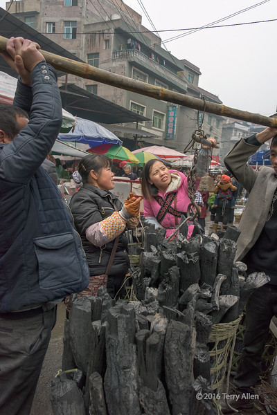 """Weighing a basket of charcoal the low tech way<br /> <br /> Traditional Chinese static equilibrium torque scale at the Rongjiang market, Guizhou Province, China. In this case the basket of charcoal is lifted off the ground by a couple of helpers. A weight is suspended from a loop on the weighing beam and the hanging weigh is moved closer or further away from the pivot point until the beam is parallel to ground level. The weight can then be read at a marking where the weight is hanging, or can be calculated by a simple formula if you know the weight of the movable weight and the distance between it and the pivot point when the beam is level. I saw several different torque scales being used at the market.<br /> <br /> This is an example of in camera selective colour, since most of the scene was naturally black and grey with a spot of colour only in the center of the shot, drawing the eye.<br /> <br /> More shots from the market, including another torque scale, can be seen here: <a href=""""http://goo.gl/rScCs7"""">http://goo.gl/rScCs7</a><br /> <br /> 09/08/15  <a href=""""http://www.allenfotowild.com"""">http://www.allenfotowild.com</a>"""
