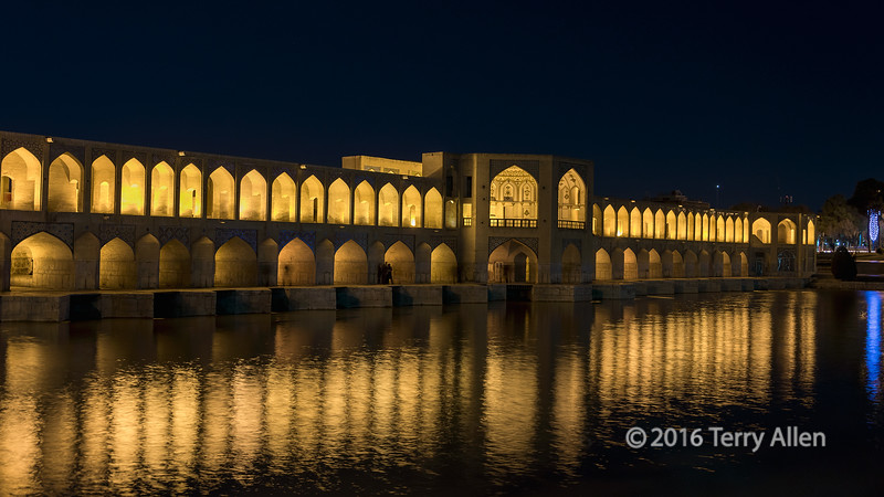 """Upstream side of the Pol-e Kadju (Pol means bridge), Isfahan, Iran<br /> <br /> Also known as the Bridge of 24 Arches, it was built around 1650 by the Safavid Dynasty ruler Shah Abbas II, This is the most beautiful and one of the longest bridges (133 meters) on the Zayandeh River that flows through Isfahan, Iran, and is a famous example of Safavid bridge design. Its elegant design shows to great advantage when it is lit up at night and reflected in the river.<br /> <br /> Other photos of this famous bridge, which is a centre of Iranian social life at night, can be seen here: <a href=""""http://goo.gl/mUJHuh"""">http://goo.gl/mUJHuh</a><br /> <br /> 11/07/15  <a href=""""http://www.allenfotowild.com"""">http://www.allenfotowild.com</a>"""