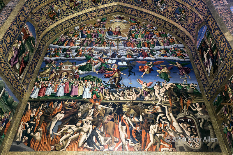 """The Last Judgement (best larger for the rich details)<br /> <br /> Panels of painting depicting heaven and hell, Vank Cathedral, Isfahan, Iran. This was my favorite painting in the cathedral.<br /> <br /> Other photos of Vank Catherdral, including its plain exterior, can be seen here: <a href=""""http://goo.gl/sMFHFk"""">http://goo.gl/sMFHFk</a><br /> <br /> 11/06/15  <a href=""""http://www.allenfotowild.com"""">http://www.allenfotowild.com</a>"""
