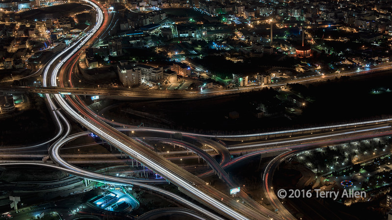 """Traffic circle seen from above at night, Milad Tower, Tehran, Iran (best larger to see the details)<br /> <br /> The entire 475 meter tower was moving in the wind, so getting a sharp shot at the low ISO (100) and long shutter speed (20s) I wanted to use was more a question of perseverance than skill.  <br /> <br /> Other shots from the tower, including a couple of very interesting abstracts with a 3D look can be seen here: <a href=""""http://goo.gl/rtSQg7"""">http://goo.gl/rtSQg7</a><br /> <br /> 29/04/15  <a href=""""http://www.allenfotowild.com"""">http://www.allenfotowild.com</a>"""