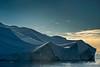 Backlit ice ridges at sunset