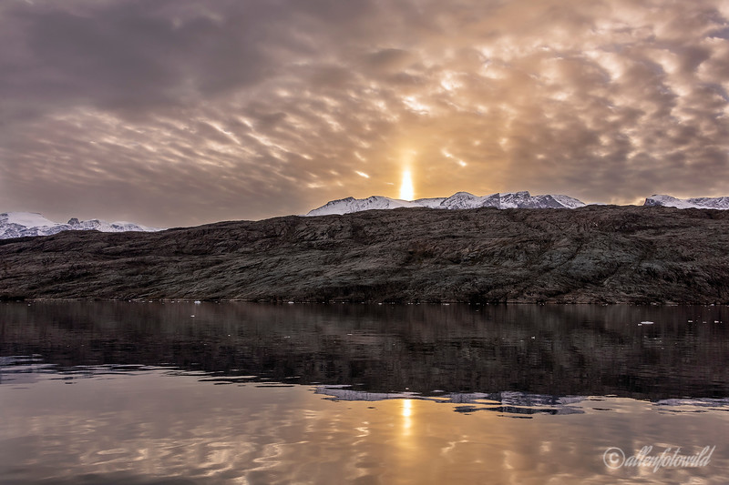 Sun pillar at sunset - Terry Allen
