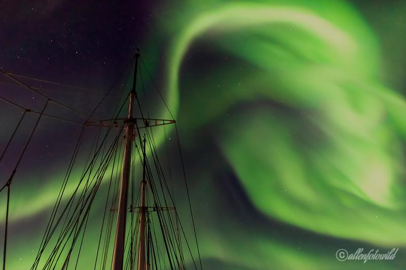 Northern lights and masts