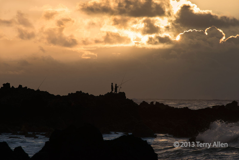 """Two fishermen at dawn on the lava rocks, Waiwamalu Beach, Oahu, Hawaii<br /> <br /> It was very hard to choose a favorite to post from the dawn fishing photos from Hawaii. For the silhouette photos taken pre-dawn, and one taken later than this one (and also one with full colour) see here: <a href=""""http://goo.gl/yLKJwd"""">http://goo.gl/yLKJwd</a><br /> <br /> Info: shot using a D800 on a monopod, aperture priority 1/320 sec, f 16, ISO 320, 300 mm"""
