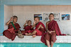 """Four happy young monks for Children's Day<br /> <br /> These young boys were sitting near the entrance of the Zeyar Theingi nunnery, Sagaing Mandalay,  Myanmar. In the nunnery I saw a number of quite young monks who appeared to be siblings of the young nuns.  <br /> <br /> A photo of a group of young nuns, an interesting one from the Grotto of 45 Buddhas, and one of a giant statue of Buddha can be seen here: <a href=""""http://goo.gl/SyIKUB"""">http://goo.gl/SyIKUB</a>"""
