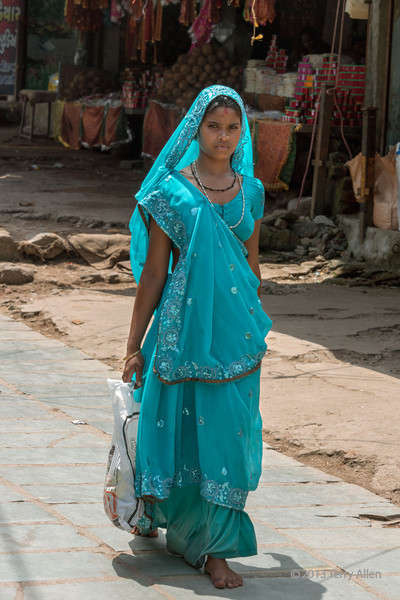 """Portrait of a woman in a turquoise sari, Pavagadh Hill, Gujarat State, India<br /> <br /> I was taken with the beauty and grace of this woman in her luminous turquoise sari.<br /> <br /> Other portraits and local scenes can be seen here: <a href=""""http://goo.gl/MLKHMk"""">http://goo.gl/MLKHMk</a><br /> <br /> 16/11/13  <a href=""""http://www.allenfotowild.com"""">http://www.allenfotowild.com</a>"""