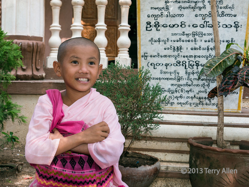 """Portrait of a young nun, Zeyar Theingi nunnery, Sagaing region, Mandalay, Myanmar<br /> <br /> Sometimes the trainee nuns are orphans, or have been entrusted to the convent by a single parent who cannot cope, but nowadays there is a trend toward teenagers shaving their heads and becoming temporary nuns, as it is seen as a meritorious undertaking that can bring advantages to them.  Parents are happy to send their teenage girls to renowned nunneries such as this one, as it is seen as a safe single sex environment where they can learn the prayers and religious etiquette of the Buddhist religion.<br /> <br /> Other photos of the young nuns, and the Saigang Hill area of Mandalay can be seen here: <a href=""""http://goo.gl/aVDGYL"""">http://goo.gl/aVDGYL</a><br /> <br /> 18/11/13  <a href=""""http://www.allenfotowild.com"""">http://www.allenfotowild.com</a>"""