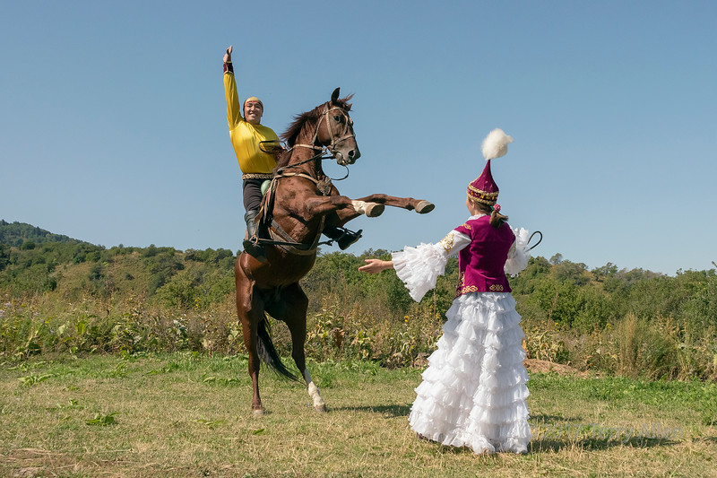 Kazakh man on rearing horse