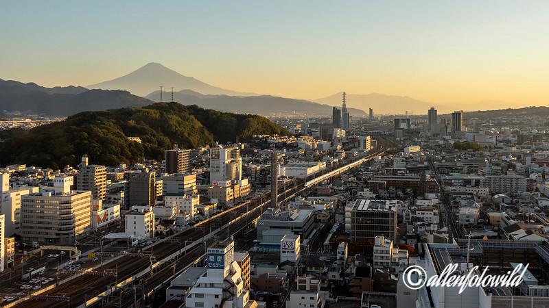 Mt Fuji at sunrise with shinkansen