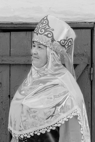 Village grandmother, black and white