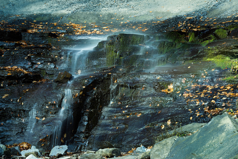 October 26 - Without much water flowing over Tinker Falls south of Syracuse, NY I focused on the lower section.