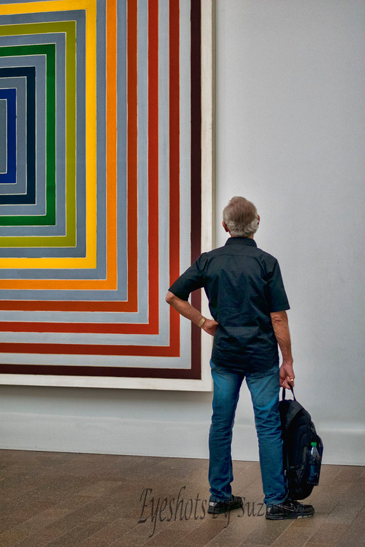 """Man in Museum<br /> Art at DeYoung<br /> <br /> (Thank you all for your comments.  The """"Man"""" is my husband, and I never know what he is thinking!)"""