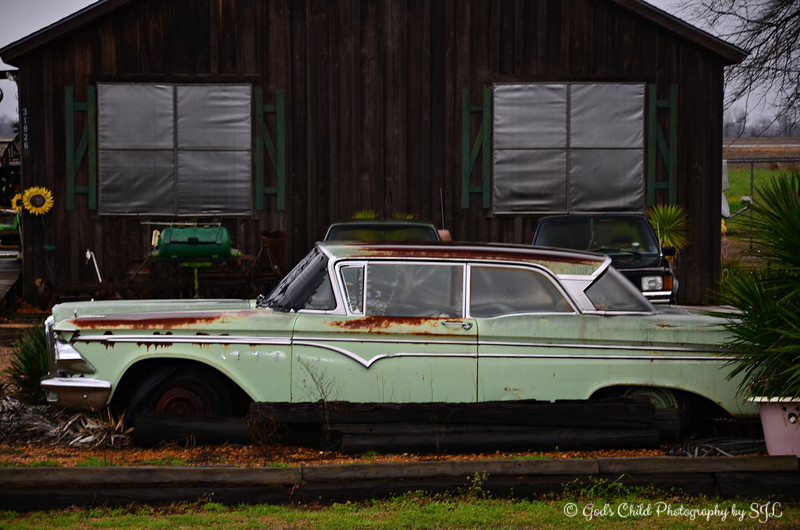 "Saturday, April 20, 2013     ""RUSTY, THE FORD EDSEL""  ""Better to burn out than rust out."" ~ Neil Young   Have you driven a Ford lately?  This old fellow has seen better days, but there's just something iconic about this Ford Edsel with its rust and character. I zoomed in to get a shot from the highway. I wish I could have gotten a closeup shot of those sunflowers, but I would have had to be on the premises, and that would have been trespassing. No photo opportunity is worth me spending time in the slammer:)!  According to Wikipedia, ""The Edsel was an automobile marque that was planned, developed, and manufactured by the Ford Motor Company during the 1958, 1959, and 1960 model years. The vehicle was planned as both a ""new"" product; and, product line for Ford, which would help Ford to make significant inroads into the market share of both General Motors and Chrysler; and thus, close the gap between GM and Ford in the domestic American automotive market, allowing Ford to share that market more equally. But contrary to Ford's internal plans and projections, the Edsel never gained popularity with contemporary American car buyers and sold poorly. The Ford Motor Company lost millions of dollars on the Edsel's development, manufacturing and marketing. Marketing research and development for the new intermediate line had begun in 1955 under the code name ""E car"",[1] which stood for ""experimental car."" Ford Motor Company eventually decided on the name ""Edsel"", in honor of Edsel B. Ford, son of the company's founder, Henry Ford (despite objections from Henry Ford II[2])."" ~ Reprinted text from here: http://en.wikipedia.org/wiki/Edsel  Have a safe and fun weekend!  ***#21 photo of the day***  (photo taken 2/10/2013)"