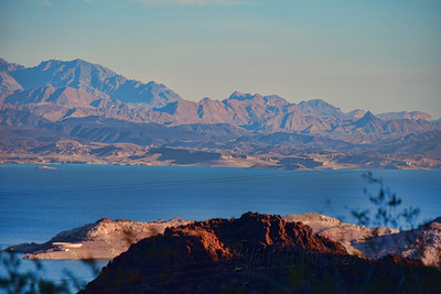 Railroad Tunnel Trail overlooking Lake Mead  My friend introduced me to a new hike overlooking Lake Mead near the Hoover Dam.  Early morning light, the water reflected a beautiful blue everywhere!