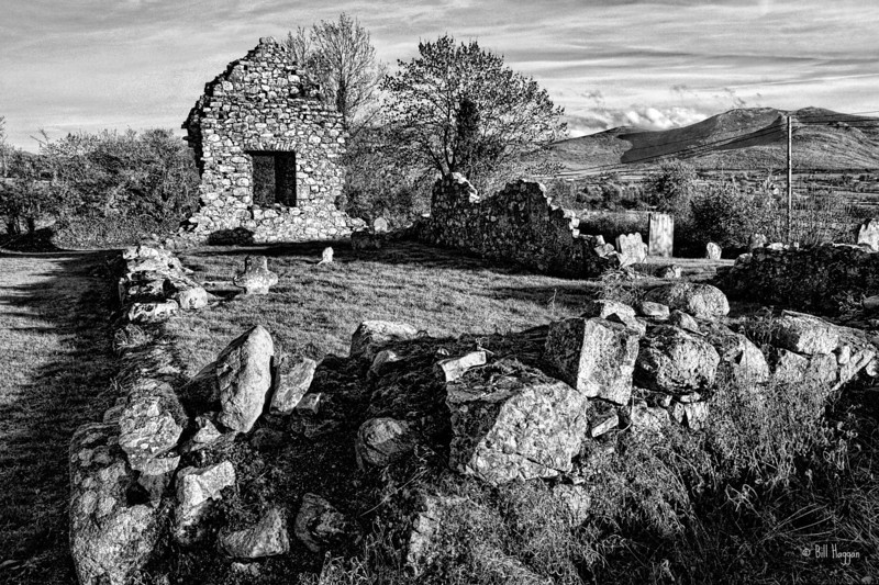 The old chapel & graveyard in Ballyaughian townland, on the road to Bryansford