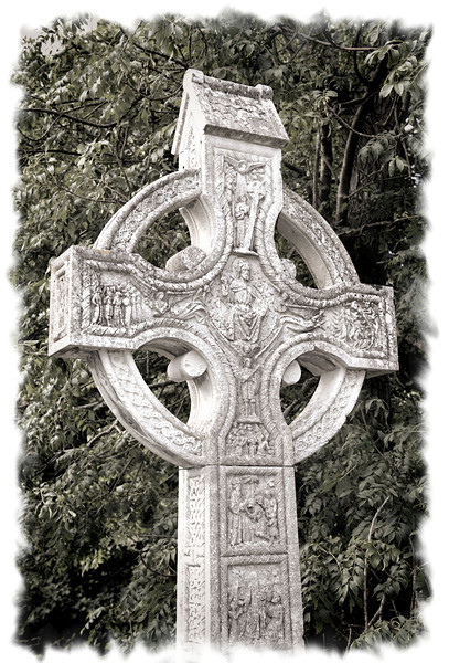 Celtic cross. Layde Church, County Antrim