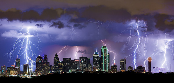 "August 20th - ""Electric Sky""  Dallas, TX In 2011 in Dallas we had over 70 days where the temperature was 100 or more.  In 2012 we had a welcome break in June and August with a lot of rain and storms.  I shot this image in mid August, normally a very dry and hot period in Dallas.  What a night! This is a stack of 6 images shot within 10 minutes of each other. Technical Details: Shot with Canon 5d MK2 and Canon 70-200L lens.  Aperature F5 and 5 second exposure time."
