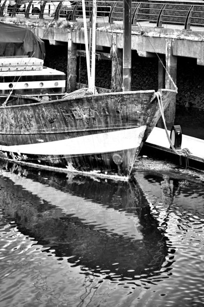 Old Fishing Boat, with reflections. <br /> Carrickfergus harbour.<br /> Post Date: 31/7/2013