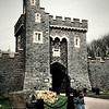 Michelle studies the gatehouse at Killyleagh Castle, County Down