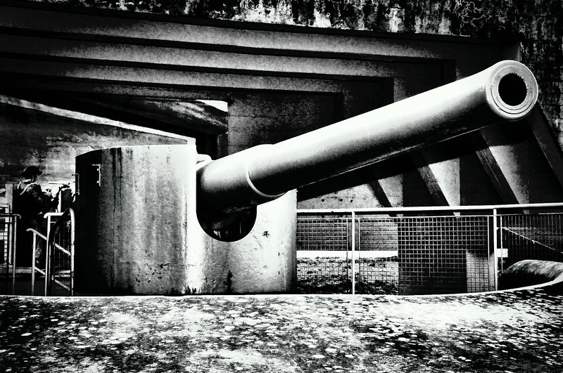 A six inch coastal defence gun from Grey Point Battery covers the approach to Belfast Lough.
