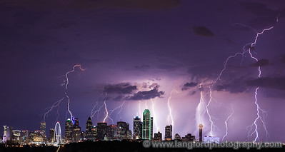 "August 21st - ""Bombardment"" This is another shot from this past Friday night.  What a night to be shooting lightning!  This is a stack of 8 images all taken within about 10 minutes of each other. Dallas, TX Technical Details: Shot with Canon 5d MK2 and Canon 70-200Llens.  Aperature F5 and shutter speed 5 seconds."