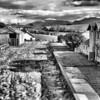 Ballyroney railway station, County Down, with the Mountains of Mourne in the distance.