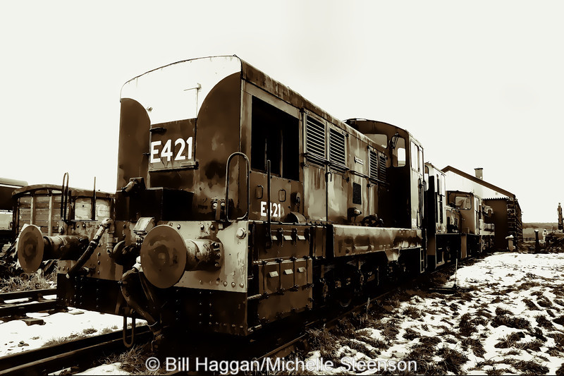 E421 rests in the sidings at Downpatrick station, County Down