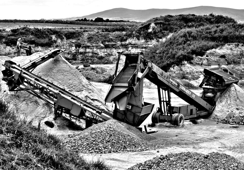 Greencastle, County Down. Quarrying ongoing at this former United States Army Air Force Base.