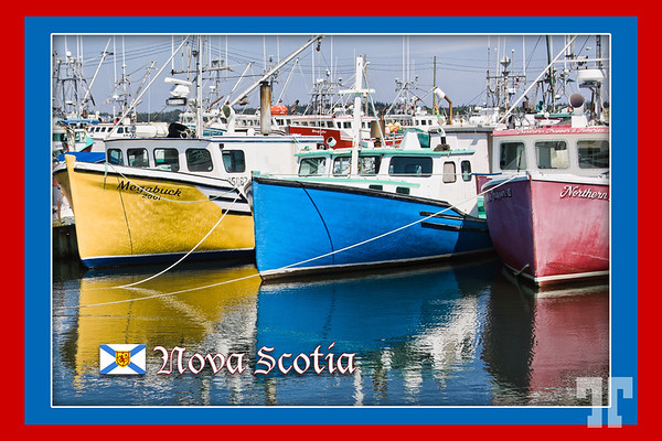 Fishing boats, Nova Scotia postcard