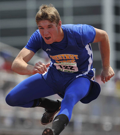 Matt Dull of Chestnut Ridge High School competes in the class AA 300-meter hurdles event at the PIAA State Track and Field Championships at Shippensburg University, Saturday, may 26, 2012. He took second place withh a time of 38:12 seconds.(AP Photo/Tribune-Democrat, John Rucosky).