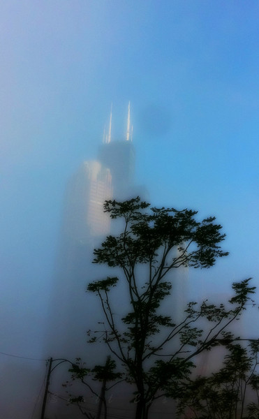 Rising out of the fog in Chicago<br /> <br /> Daily Photos  -  September 20, 2011<br /> <br /> Well, this was taken with my iPhone, so it's not the best quality image. I was running so late for work this morning that I just didn't have time to stop, pull out the camera, and start tinkering around. The only editing was a little cropping around the edges and a small adjustment to clean up some of the noise...
