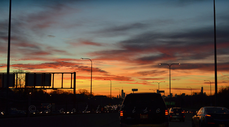 Chicago Sunrise from the Inbound Kennedy <br /> <br /> Daily Photos  -  December 12, 2011