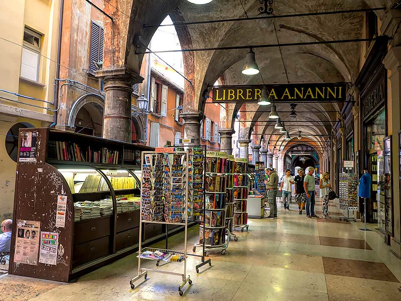 Libreria Nanni open air bookstore under the porticoes of Bologna, Italy