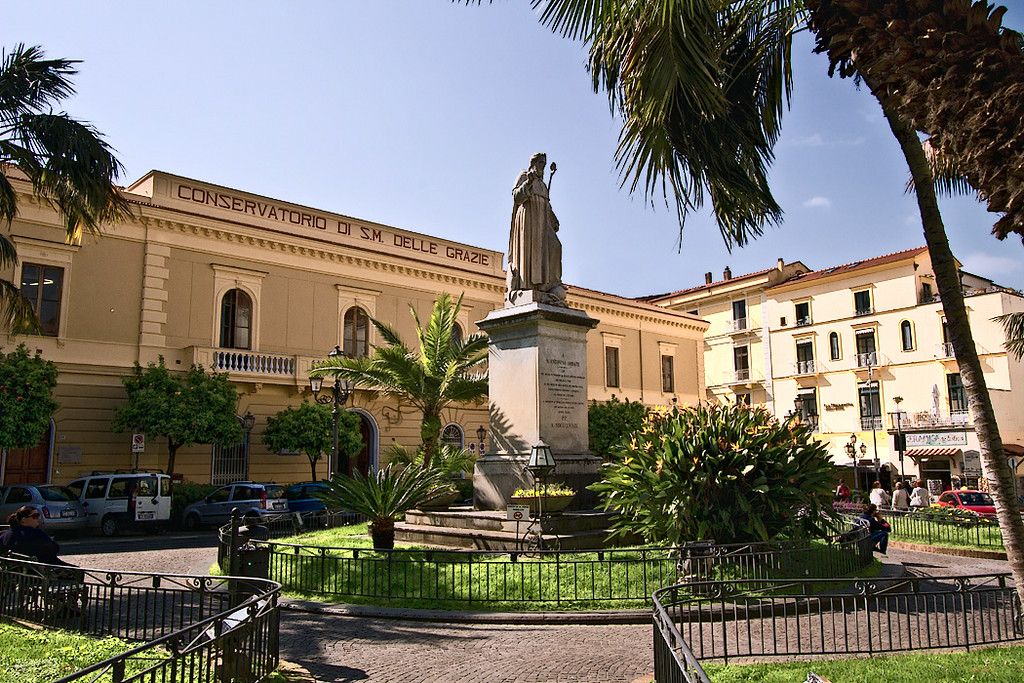 Town Hall dominates St. Antonino Square in Sorrento, Italy