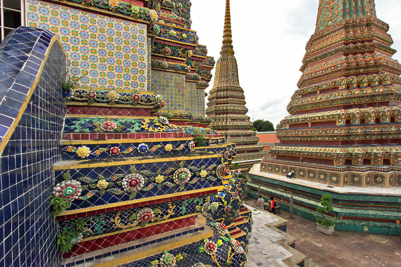 Ceramic decorated Stupas at Wat Pho, Bangkok