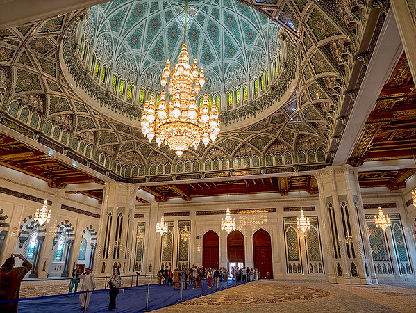 Interior of the lavish Sultan Qaboos Grand Mosque in Muscat, Oman
