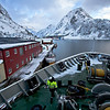 MS Richard With docks at Oksfjord to deliver supplies to this tiny village above the Arctic Circle