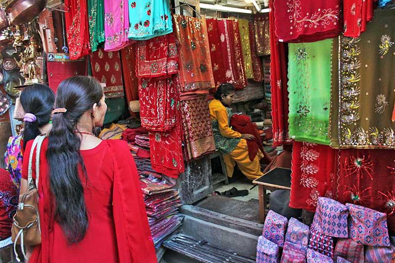 Nepali women shop for holiday goods in Kathmandu