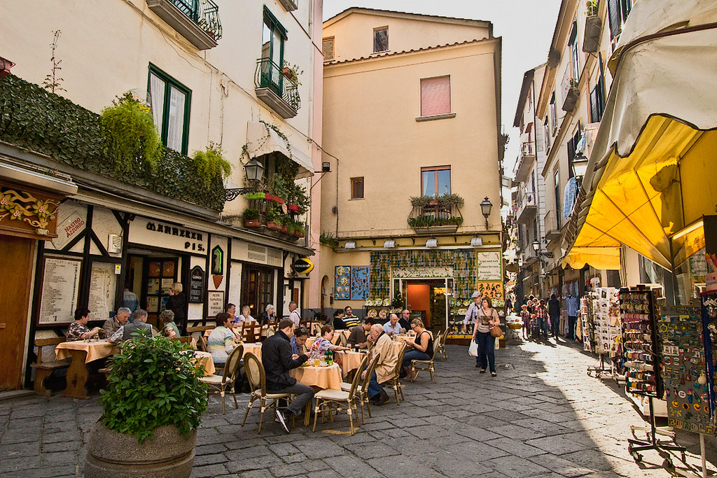 A sidewalk cafe on one of the many small piazzas found around every corner in Sorrento, Italy