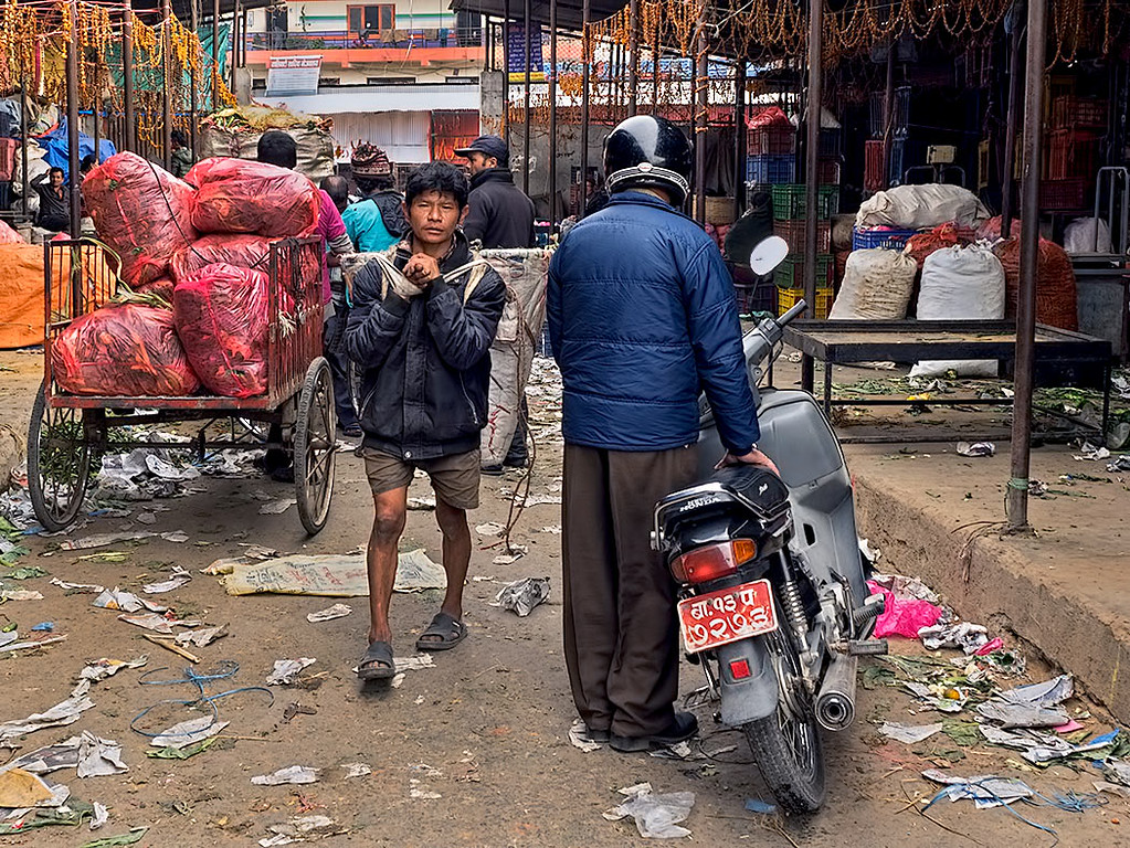 Movings goods through the Kalimati Fruit and Vegetable Market in Kathmandu, Nepal