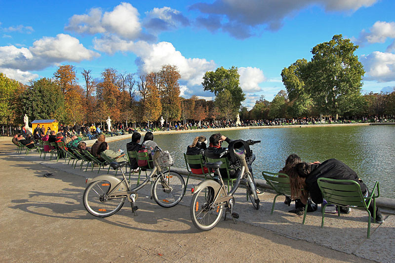 Enjoying the brisk fall weather at Tuilieries Gardens, Paris, France