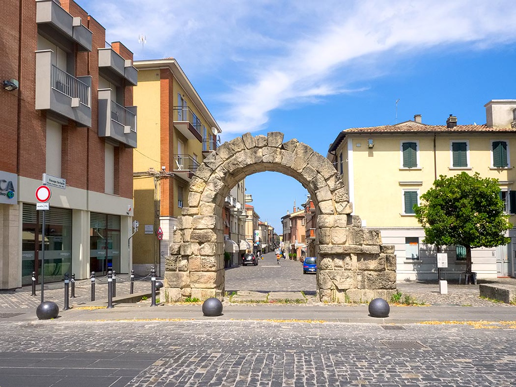 Rimini, Italy, perhaps best known for its beaches on the Adriatic, is also rife with history. This ancient Montanara Gate in Rimini city center marked one end of the street leading to what was the town's Roman Forum